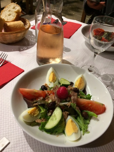 salade nicoise, nice, france, french riviera, rose wine, dinner, food