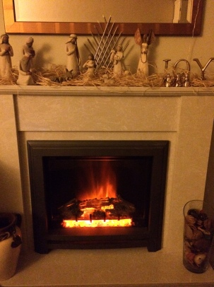 fireplace, fire, home, house, nativity, festive, joy, christmas