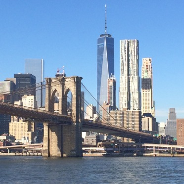 new york, brooklyn bridge, east river, one world trade