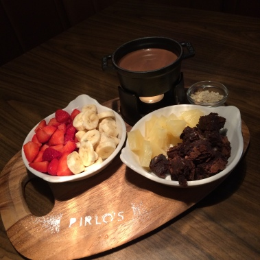 pirlos dessert lounge, birmingham, chocolate, fondue, fruit, brownie