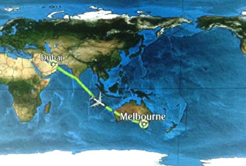 Flight plan, destination, dubai, melbourne, emirates