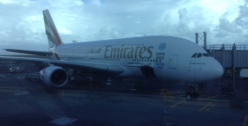 Emirates, airbus a380, airplane, aeroplane, airport, flight