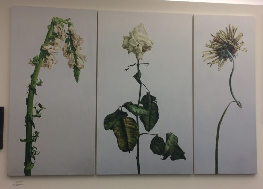 wilted flowers, canvas, artwork, museum, water