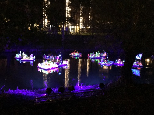 glow eindhoven, light art festival, street art, river display, floating countries