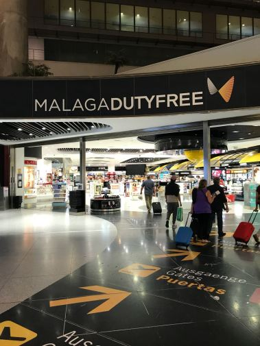 navigating malaga airport, amii at thirty, spain, duty free, airport, departures, shopping