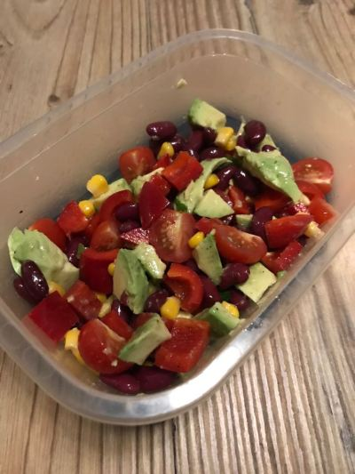 lunchbox salad, bean and corn salad, salads, healthy lunch, work lunch